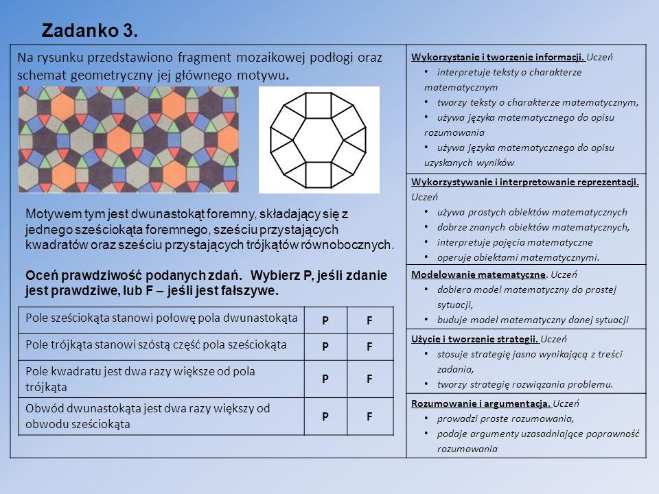 Zadanko 3. Na rysunku przedstawiono fragment mozaikowej podłogi oraz schemat geometryczny jej głównego motywu.