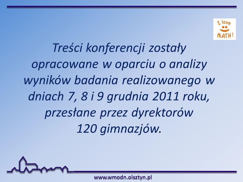 Treści konferencji zostały opracowane w oparciu o analizy wyników badania realizowanego w dniach 7, 8 i 9 grudnia 2011 roku, przesłane przez dyrektorów