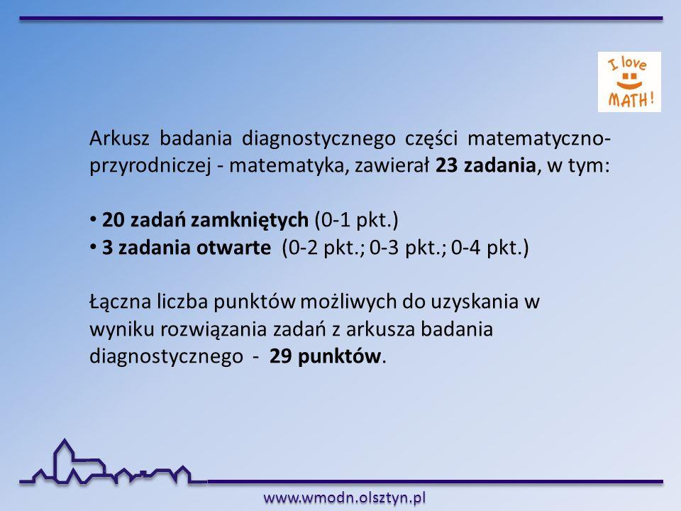 Arkusz badania diagnostycznego części matematyczno-przyrodniczej - matematyka, zawierał 23 zadania, w tym: