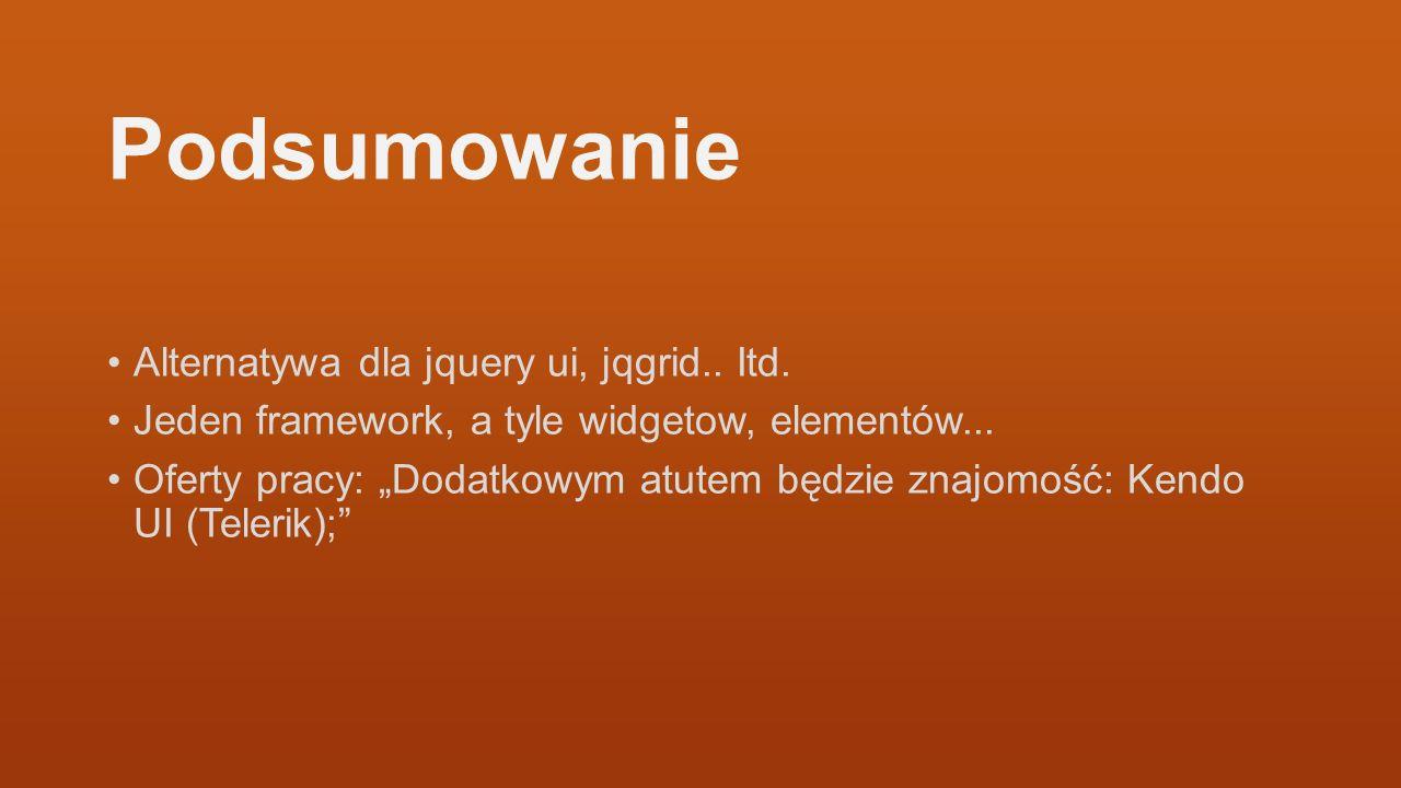 Podsumowanie Alternatywa dla jquery ui, jqgrid.. Itd.