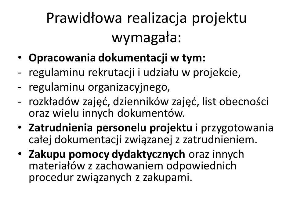 Prawidłowa realizacja projektu wymagała: