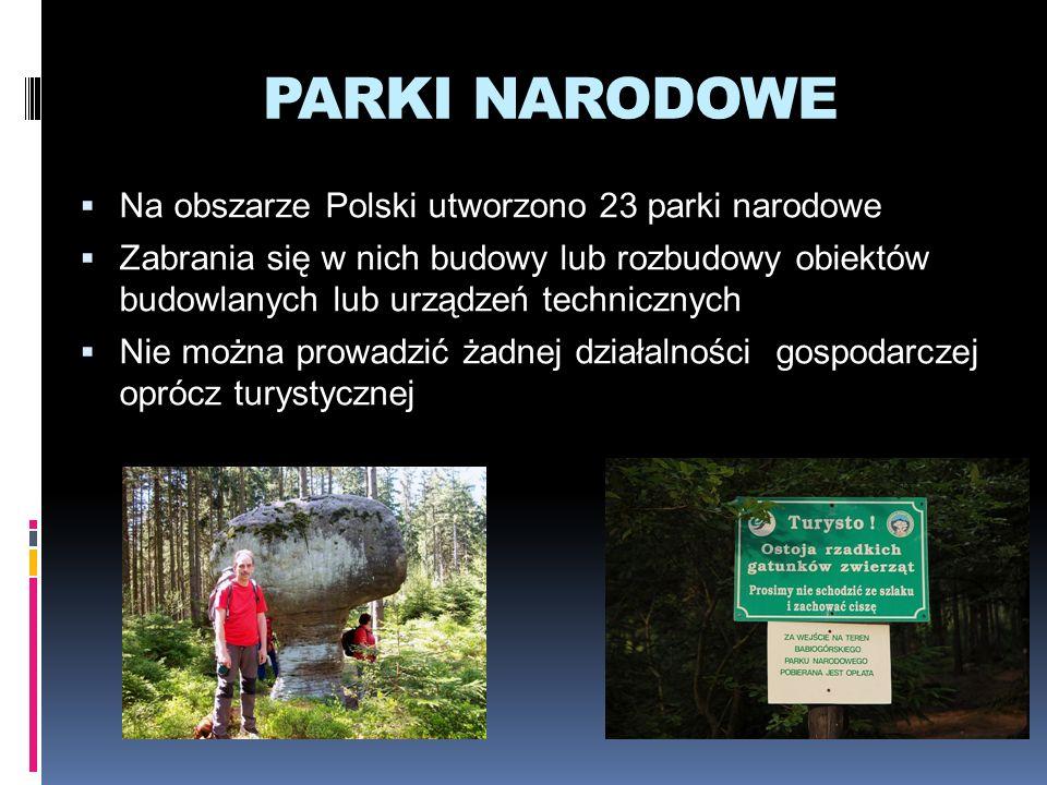 PARKI NARODOWE Na obszarze Polski utworzono 23 parki narodowe
