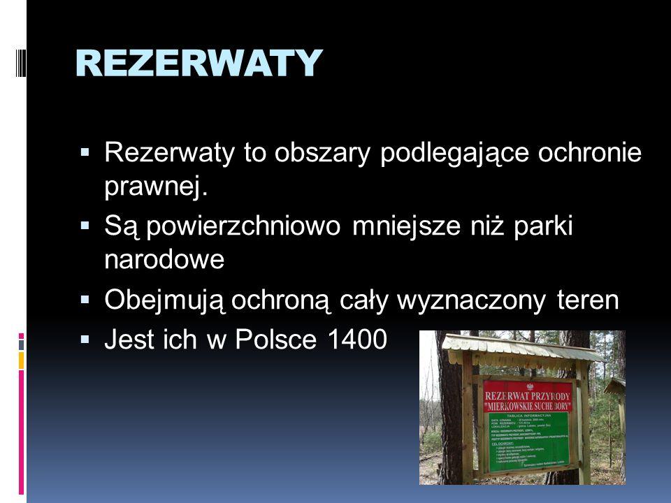 REZERWATY Rezerwaty to obszary podlegające ochronie prawnej.
