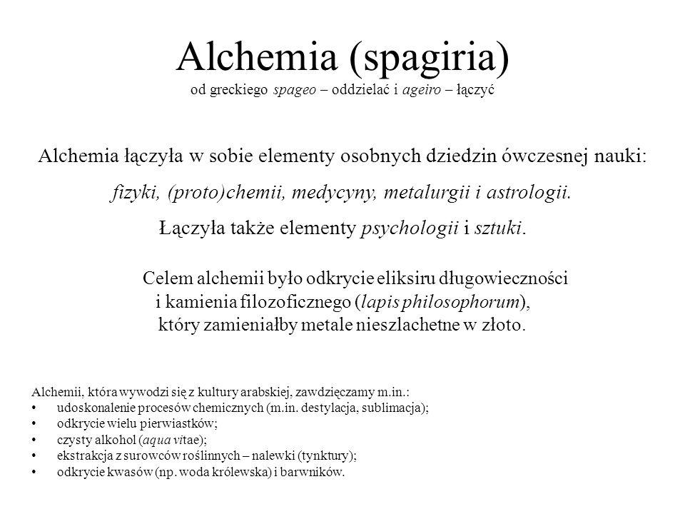 Alchemia (spagiria) od greckiego spageo – oddzielać i ageiro – łączyć