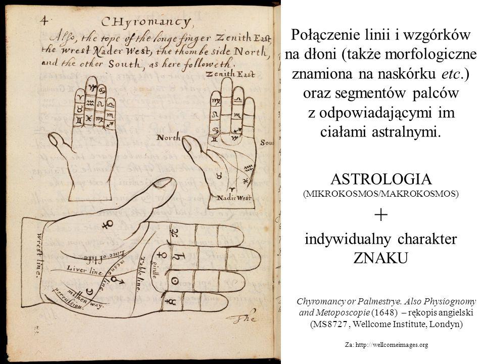Połączenie linii i wzgórków na dłoni (także morfologiczne znamiona na naskórku etc.) oraz segmentów palców