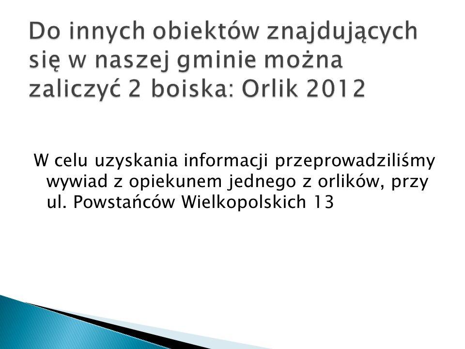 Do innych obiektów znajdujących się w naszej gminie można zaliczyć 2 boiska: Orlik 2012