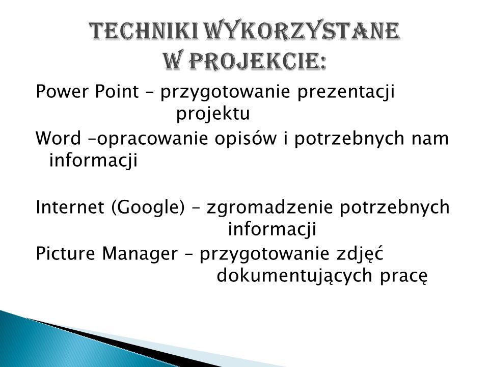Techniki wykorzystane w projekcie: