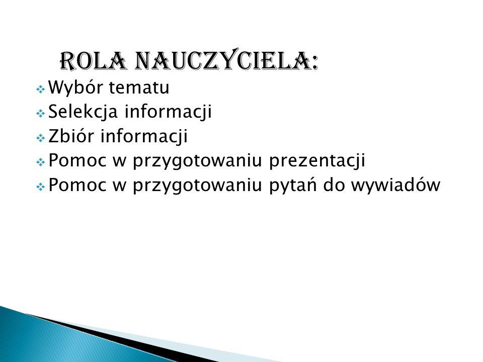 ROLA NAUCZYCIELA: Wybór tematu Selekcja informacji Zbiór informacji