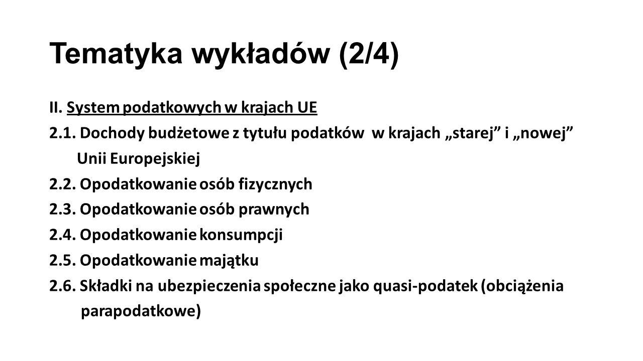 Tematyka wykładów (2/4) II. System podatkowych w krajach UE