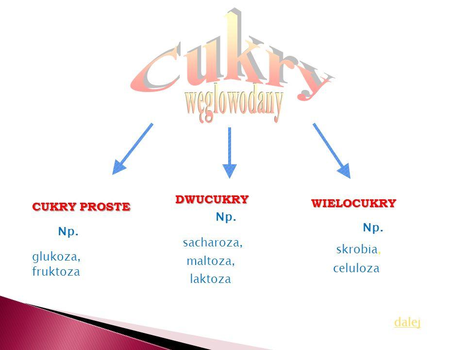 Cukry węglowodany DWUCUKRY WIELOCUKRY CUKRY PROSTE Np. Np. Np.