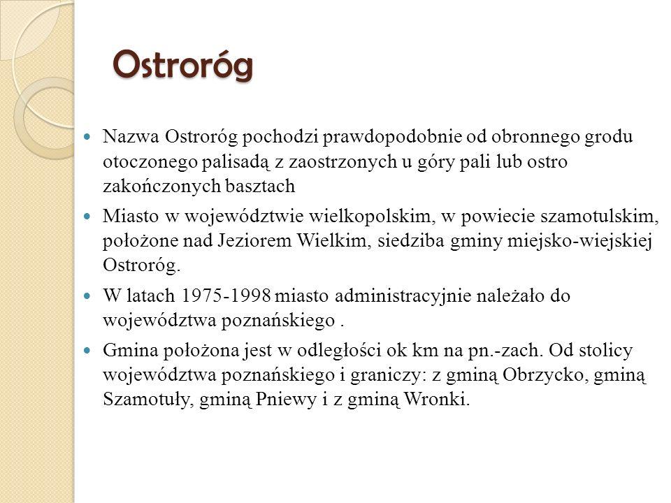 Ostroróg Nazwa Ostroróg pochodzi prawdopodobnie od obronnego grodu otoczonego palisadą z zaostrzonych u góry pali lub ostro zakończonych basztach.