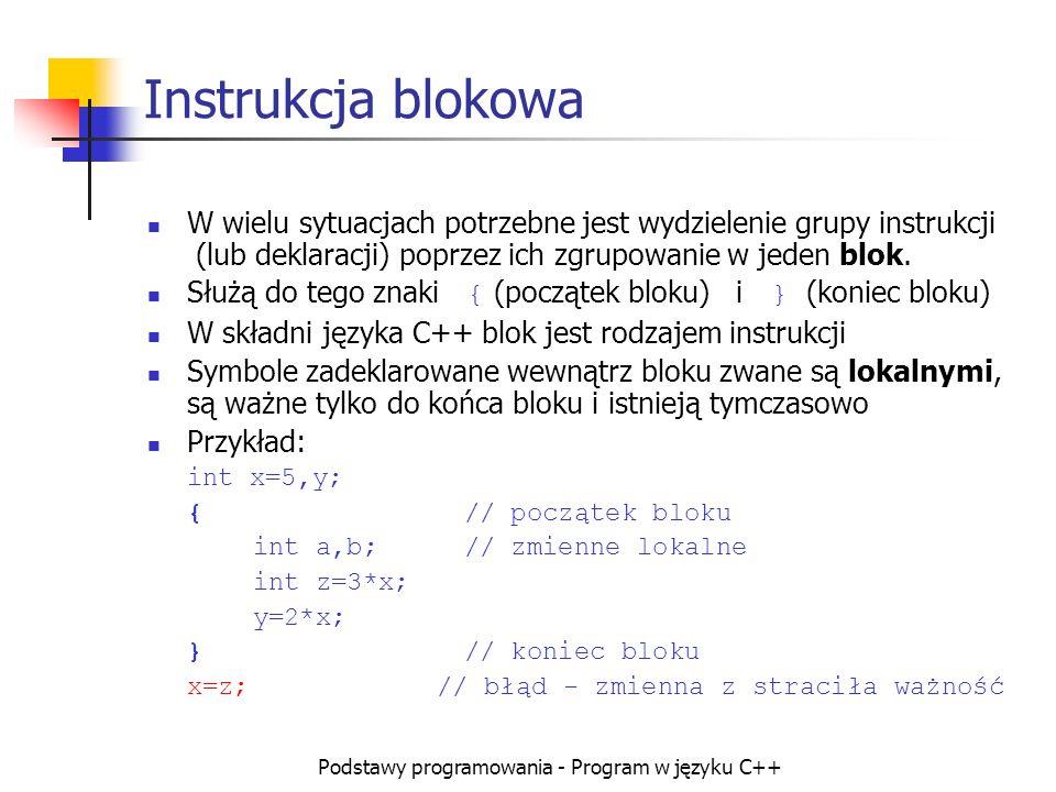 Podstawy programowania - Program w języku C++