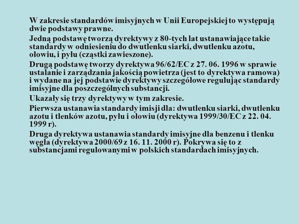 W zakresie standardów imisyjnych w Unii Europejskiej to występują dwie podstawy prawne.