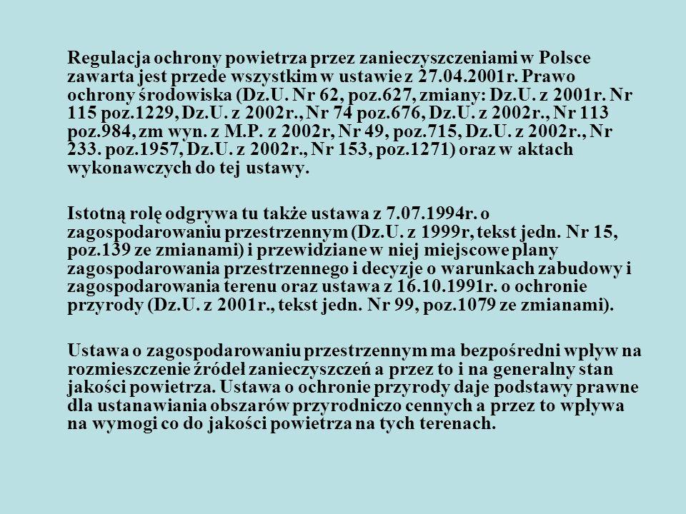 Regulacja ochrony powietrza przez zanieczyszczeniami w Polsce zawarta jest przede wszystkim w ustawie z 27.04.2001r. Prawo ochrony środowiska (Dz.U. Nr 62, poz.627, zmiany: Dz.U. z 2001r. Nr 115 poz.1229, Dz.U. z 2002r., Nr 74 poz.676, Dz.U. z 2002r., Nr 113 poz.984, zm wyn. z M.P. z 2002r, Nr 49, poz.715, Dz.U. z 2002r., Nr 233. poz.1957, Dz.U. z 2002r., Nr 153, poz.1271) oraz w aktach wykonawczych do tej ustawy.