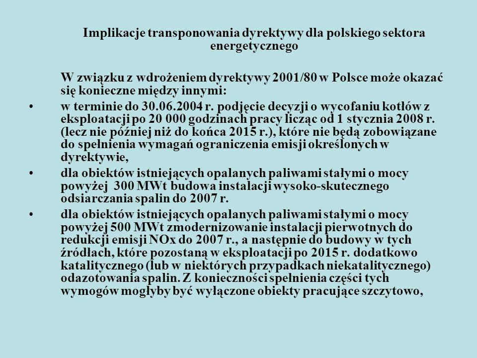 Implikacje transponowania dyrektywy dla polskiego sektora energetycznego