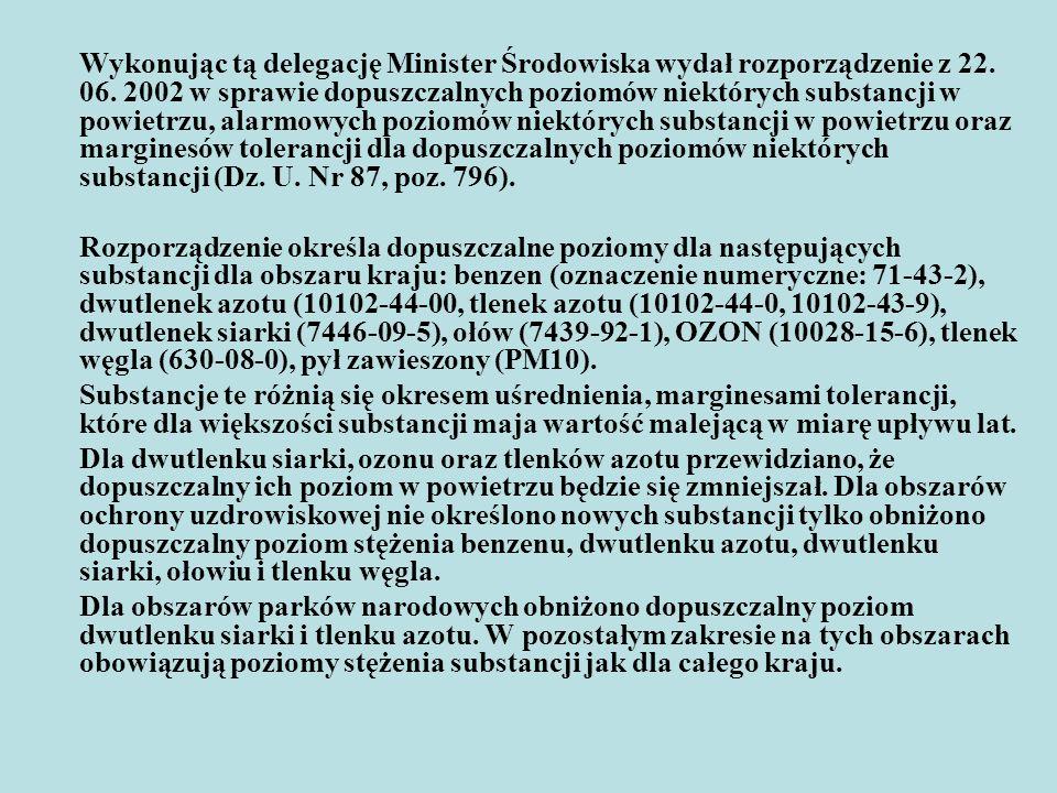 Wykonując tą delegację Minister Środowiska wydał rozporządzenie z 22
