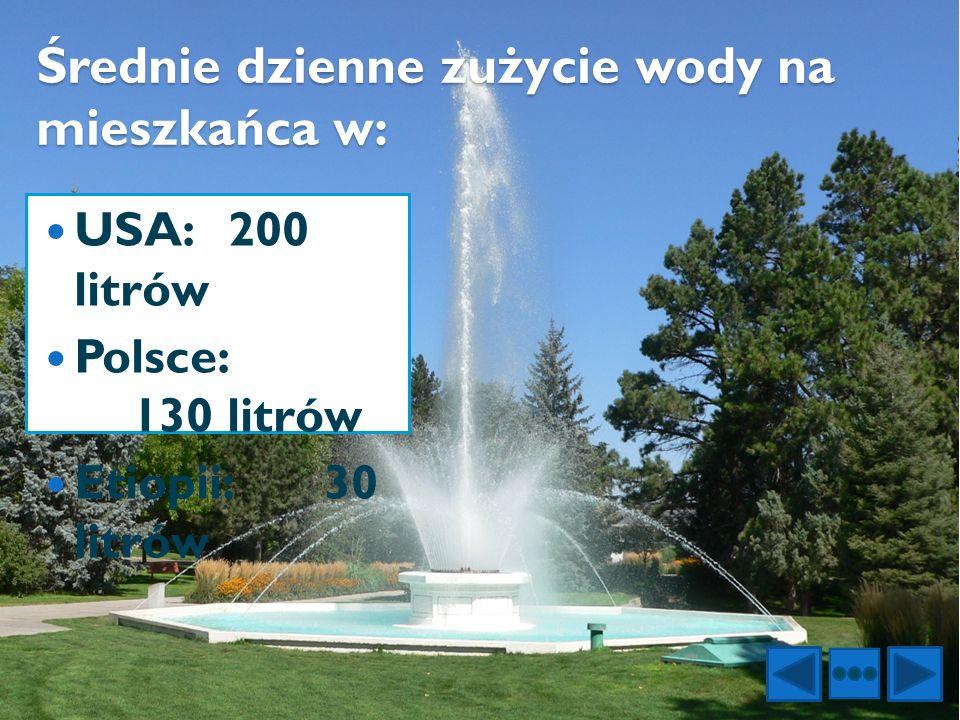 Średnie dzienne zużycie wody na mieszkańca w: