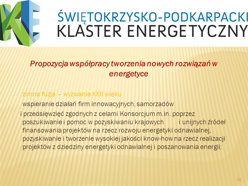 Propozycja współpracy tworzenia nowych rozwiązań w energetyce