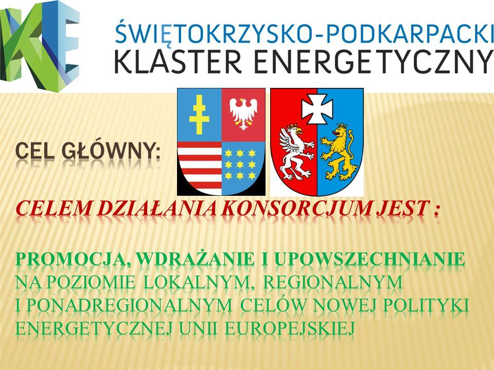 CEL GŁÓWNY: Celem działania Konsorcjum jest : promocja, wdrażanie i upowszechnianie na poziomie lokalnym, regionalnym i ponadregionalnym celów nowej polityki energetycznej Unii Europejskiej