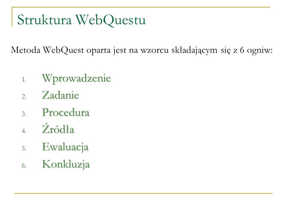 Struktura WebQuestu Wprowadzenie Zadanie Procedura Źródła Ewaluacja