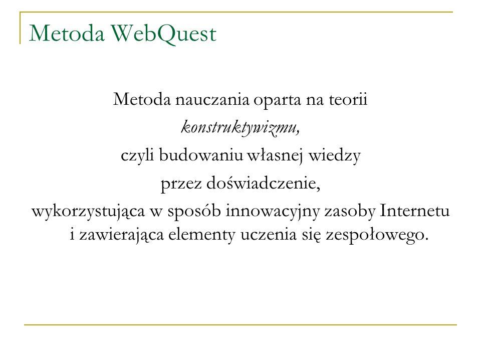 Metoda WebQuest Metoda nauczania oparta na teorii konstruktywizmu,