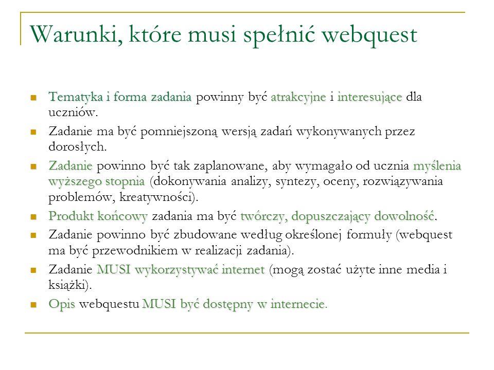Warunki, które musi spełnić webquest