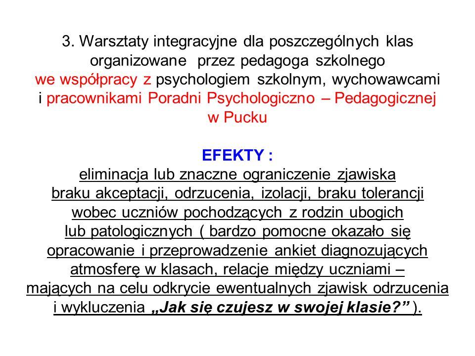 3. Warsztaty integracyjne dla poszczególnych klas