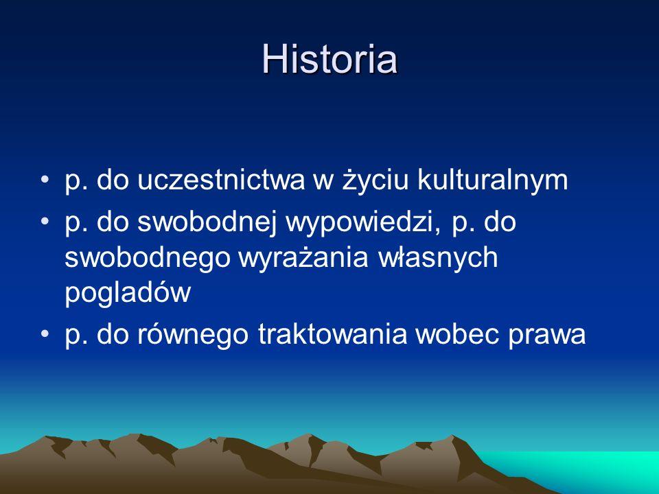Historia p. do uczestnictwa w życiu kulturalnym