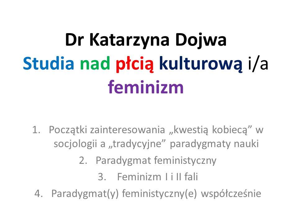 Dr Katarzyna Dojwa Studia nad płcią kulturową i/a feminizm