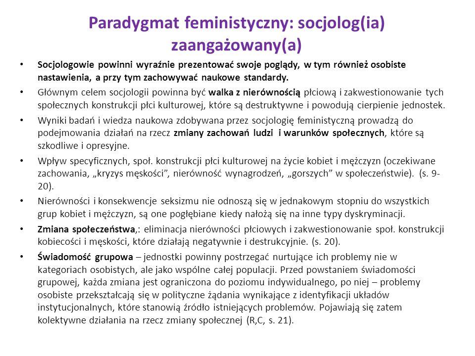 Paradygmat feministyczny: socjolog(ia) zaangażowany(a)