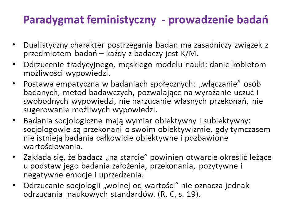 Paradygmat feministyczny - prowadzenie badań