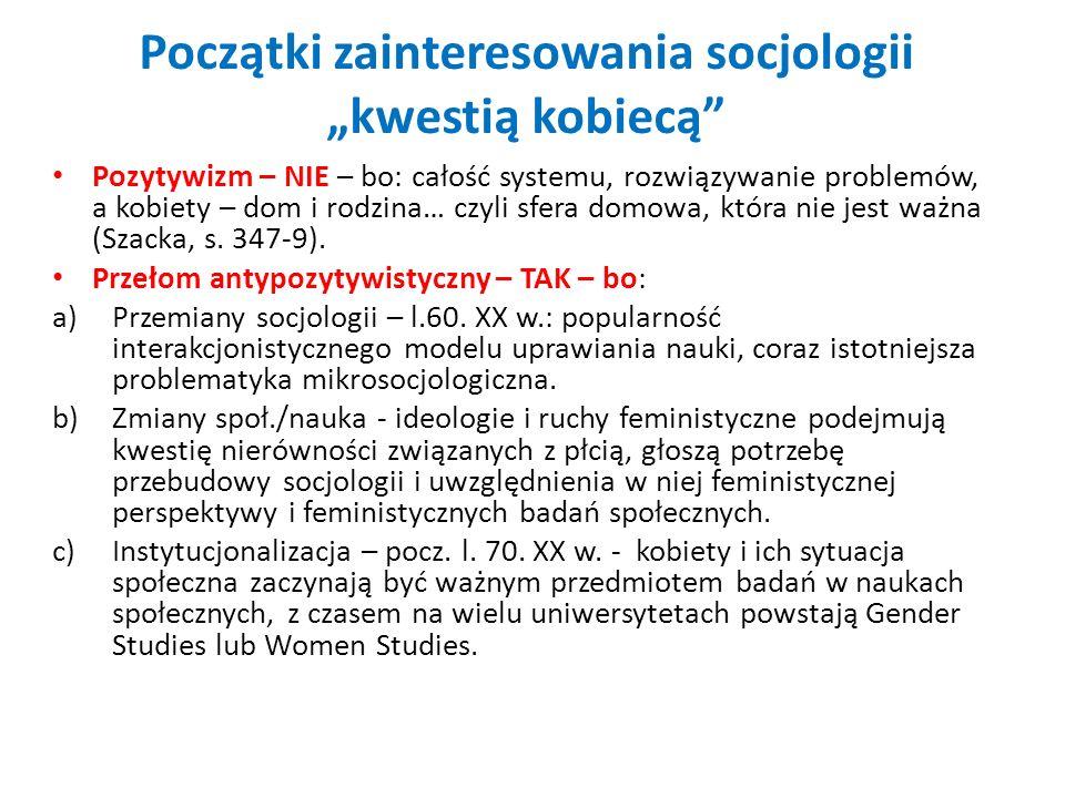 """Początki zainteresowania socjologii """"kwestią kobiecą"""