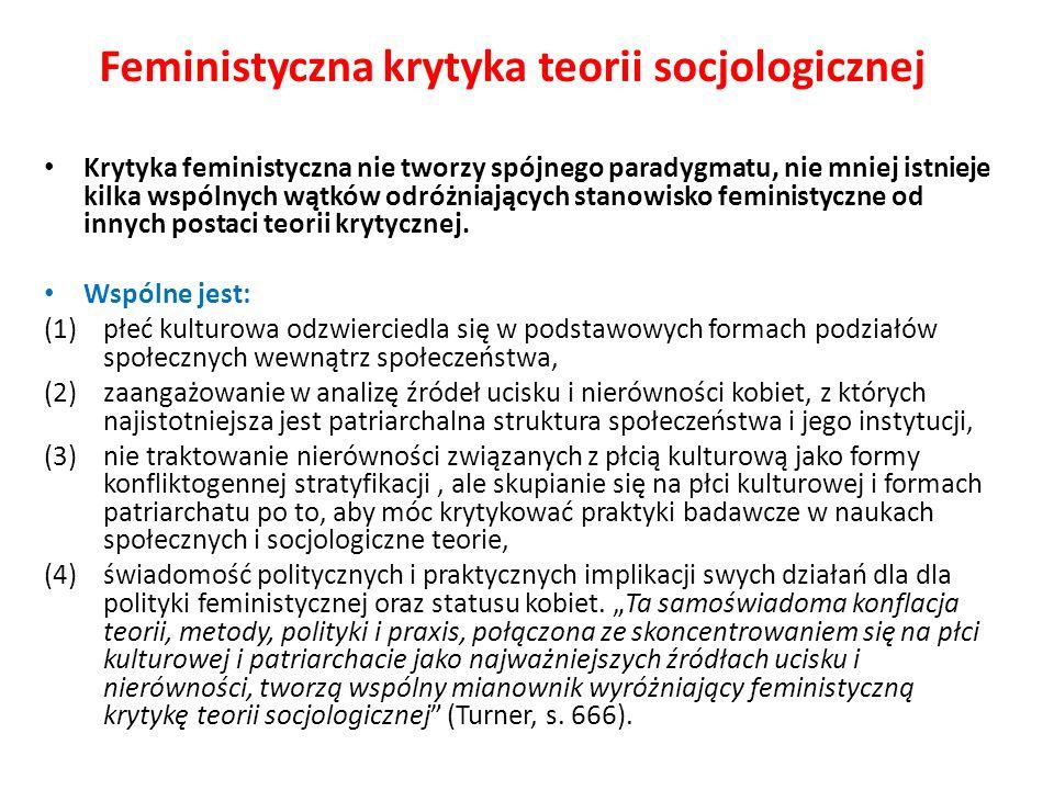 Feministyczna krytyka teorii socjologicznej