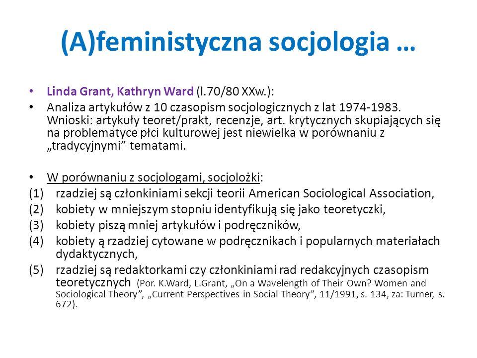 (A)feministyczna socjologia …