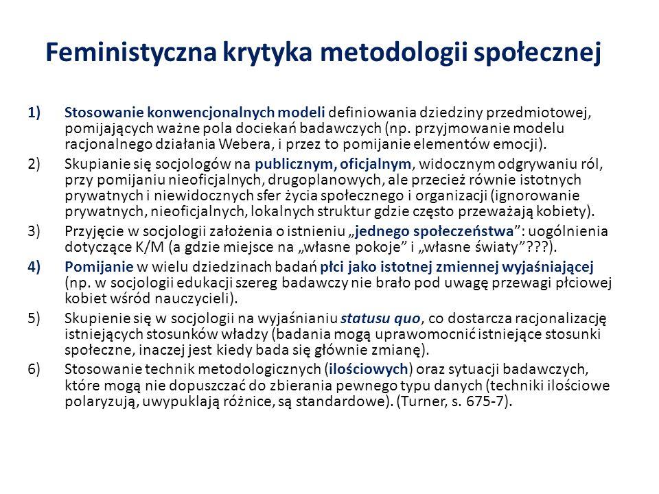Feministyczna krytyka metodologii społecznej