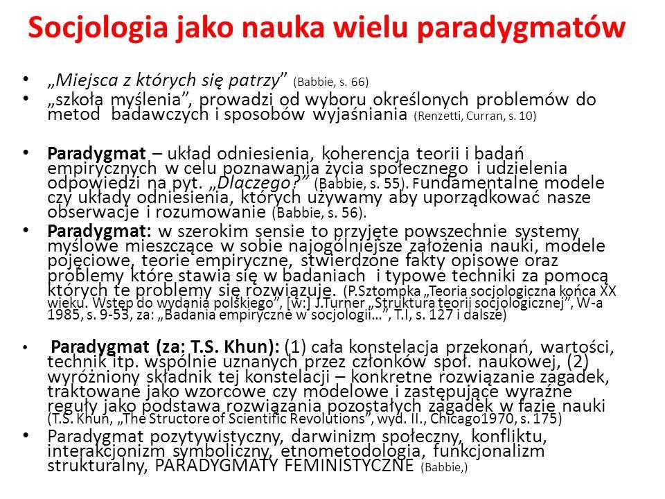 Socjologia jako nauka wielu paradygmatów