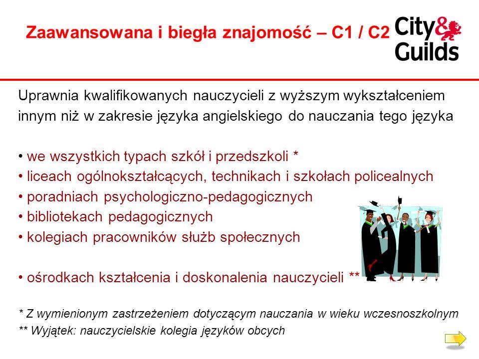 Zaawansowana i biegła znajomość – C1 / C2