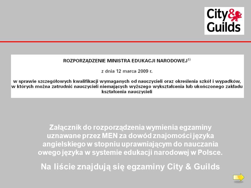 Na liście znajdują się egzaminy City & Guilds