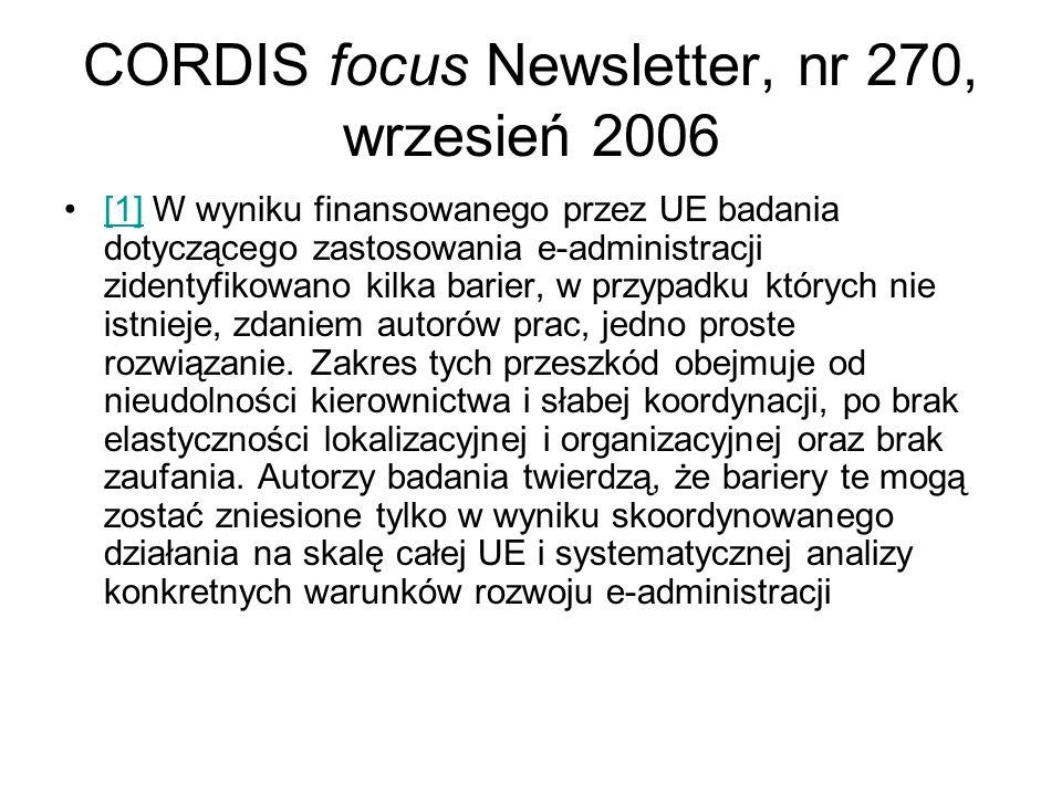 CORDIS focus Newsletter, nr 270, wrzesień 2006