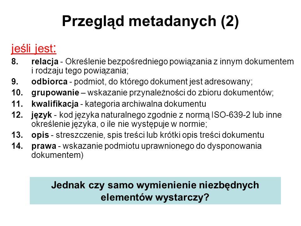 Przegląd metadanych (2)