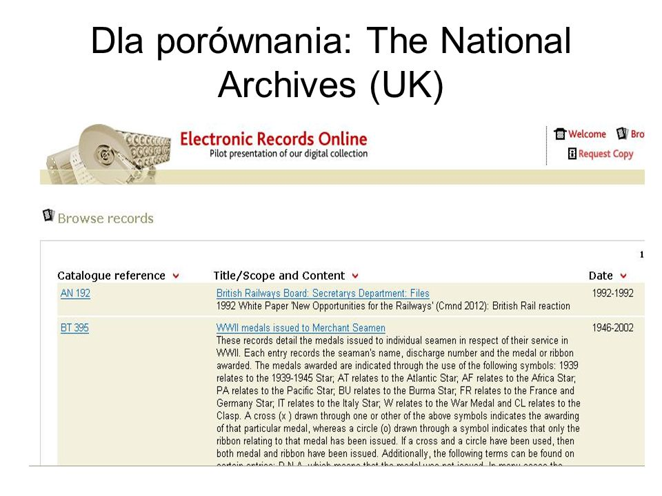 Dla porównania: The National Archives (UK)