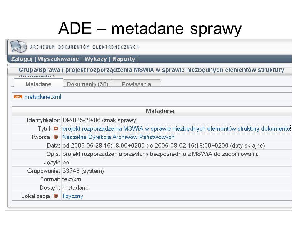 ADE – metadane sprawy