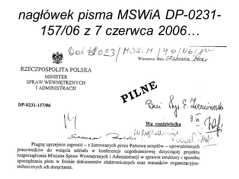 nagłówek pisma MSWiA DP-0231-157/06 z 7 czerwca 2006…