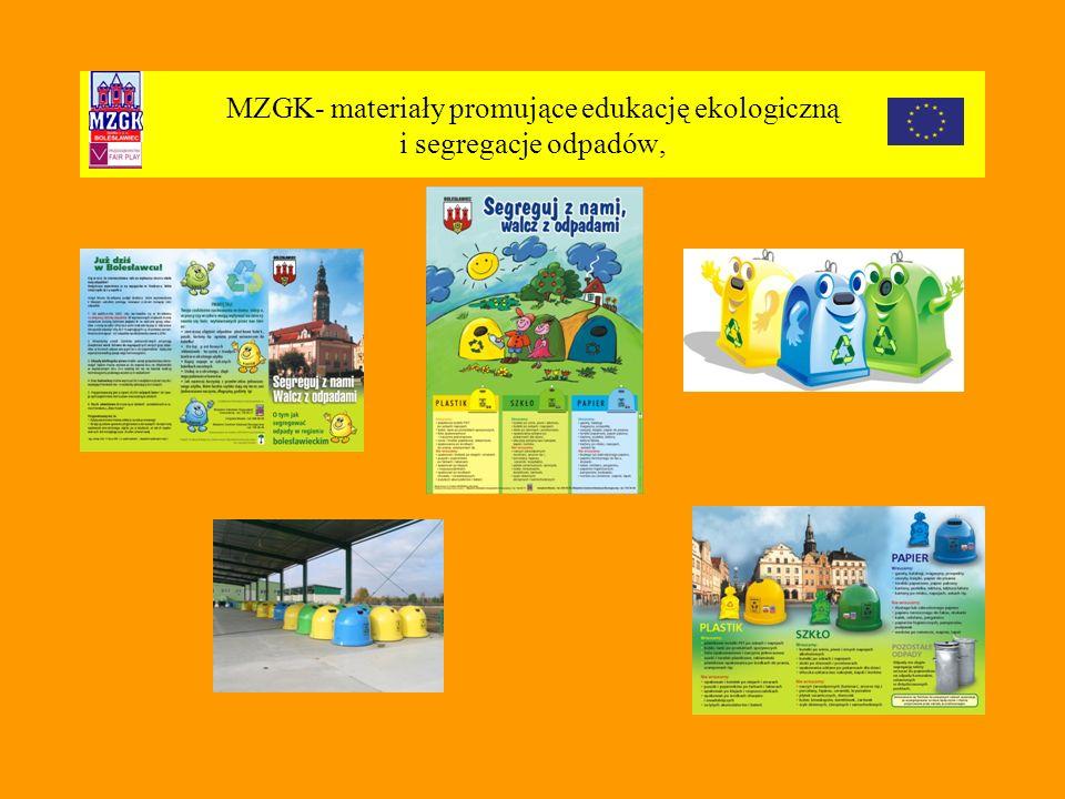 MZGK- materiały promujące edukację ekologiczną i segregacje odpadów,