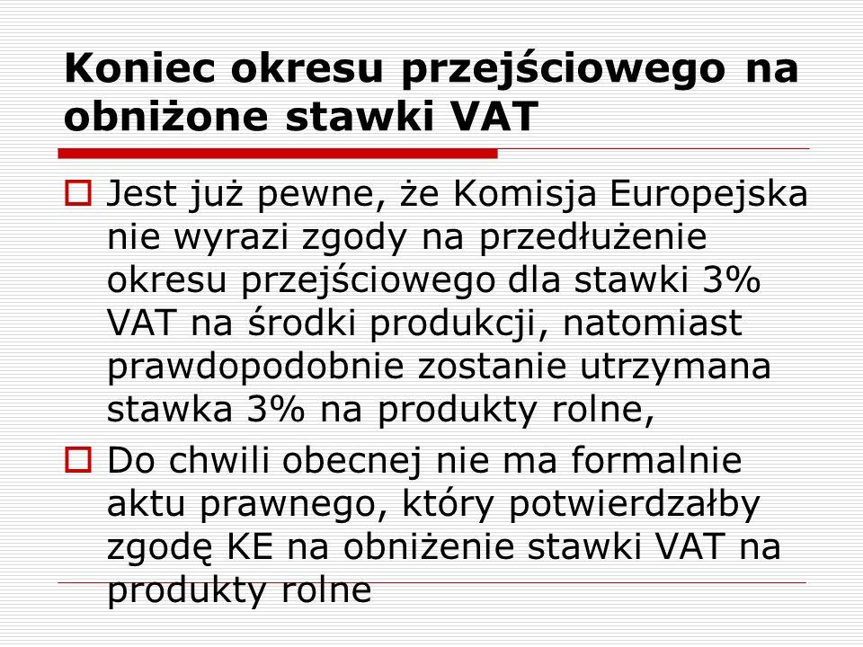 Koniec okresu przejściowego na obniżone stawki VAT