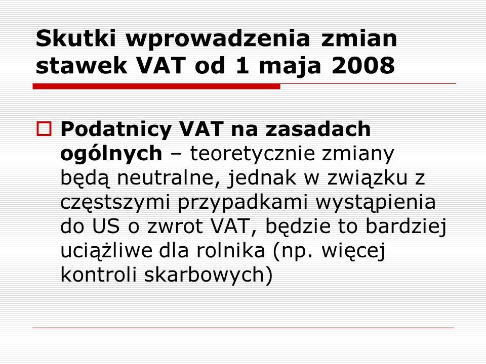 Skutki wprowadzenia zmian stawek VAT od 1 maja 2008