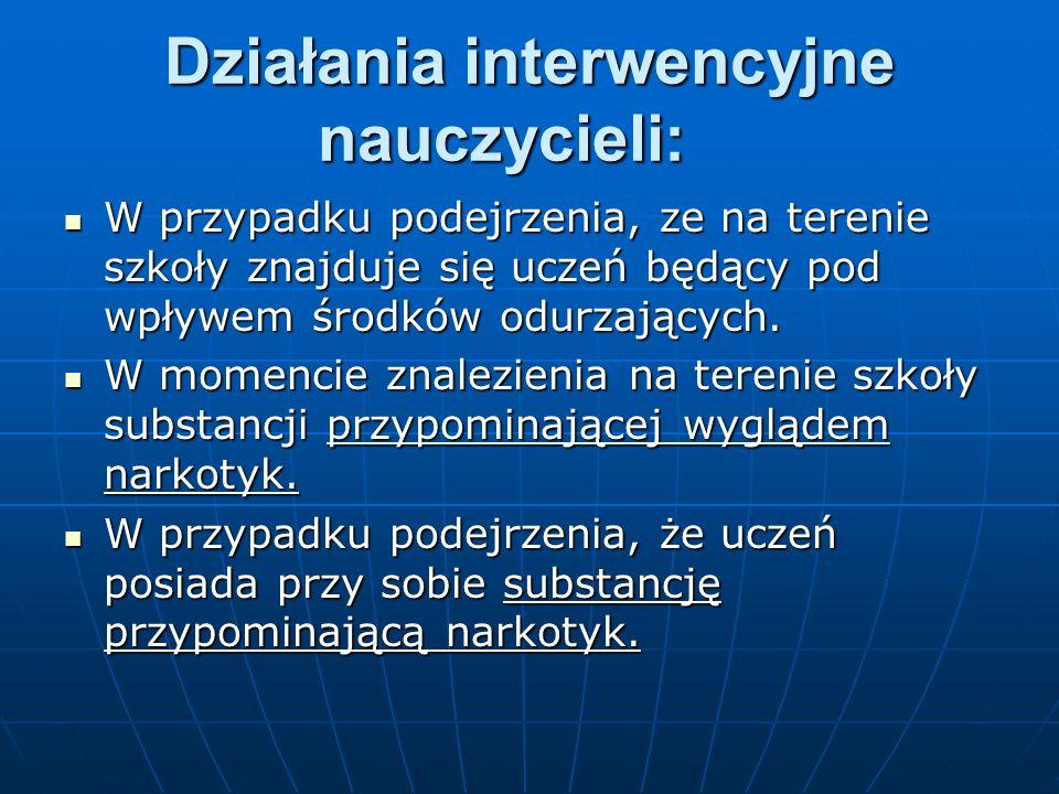 Działania interwencyjne nauczycieli: