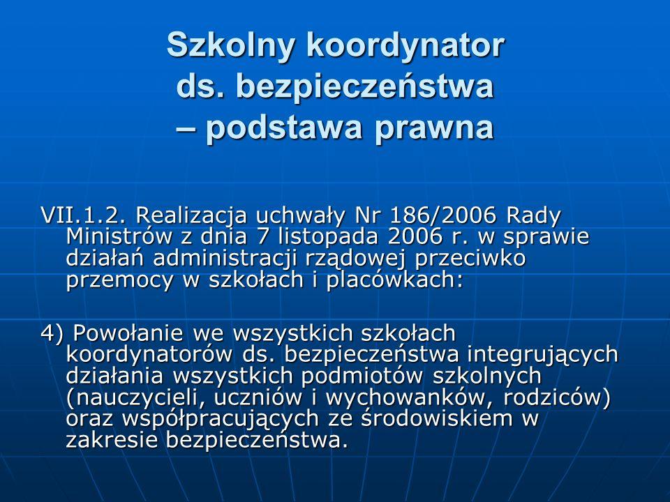 Szkolny koordynator ds. bezpieczeństwa – podstawa prawna