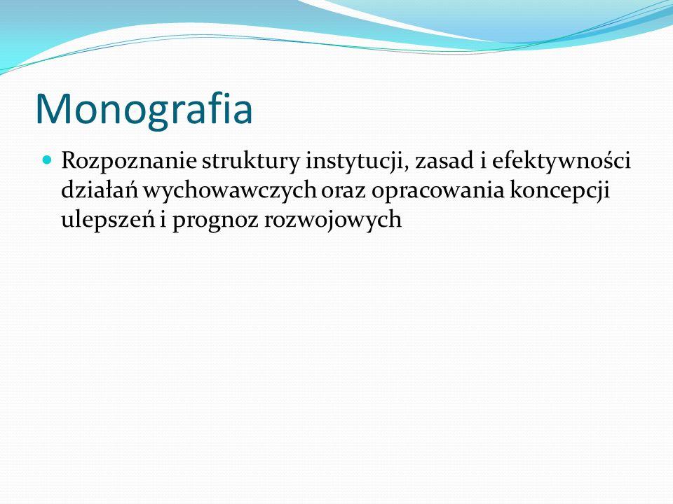 Monografia Rozpoznanie struktury instytucji, zasad i efektywności działań wychowawczych oraz opracowania koncepcji ulepszeń i prognoz rozwojowych.