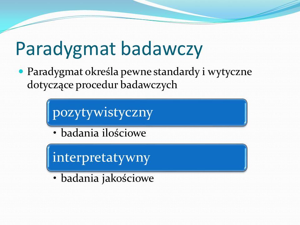 Paradygmat badawczy Paradygmat określa pewne standardy i wytyczne dotyczące procedur badawczych. pozytywistyczny.